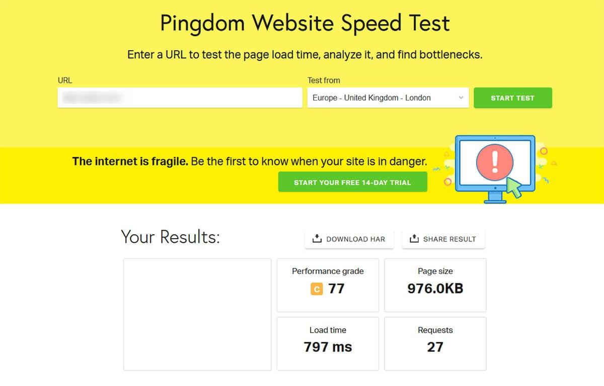 Test performance Pingdom SiteGround