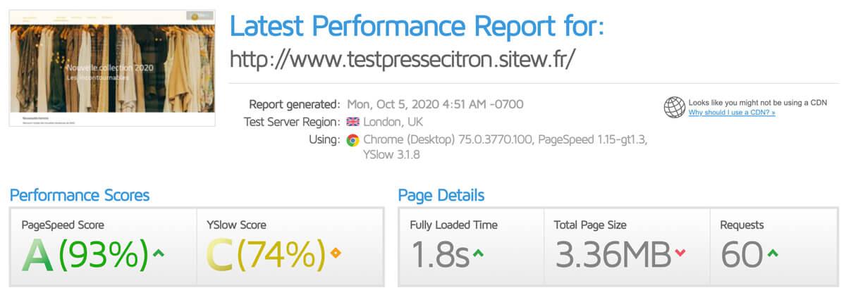 Test vitesse SiteW