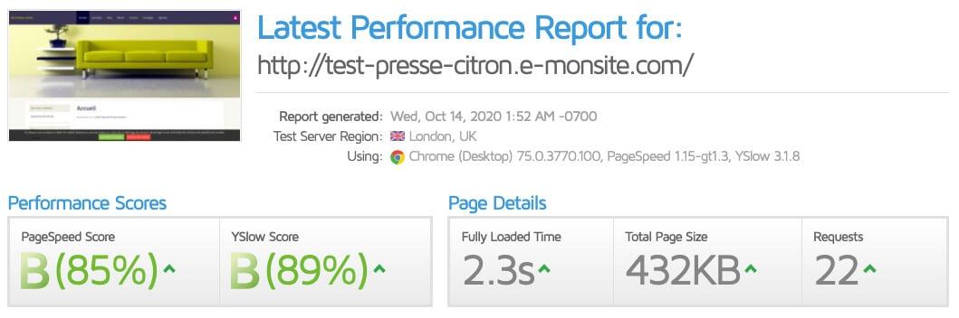 Test vitesse e-monsite