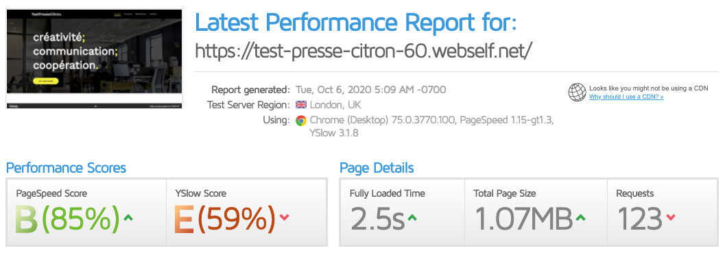 Test vitesse site WebSelf