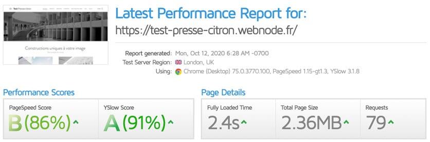 Test vitesse site Webnode