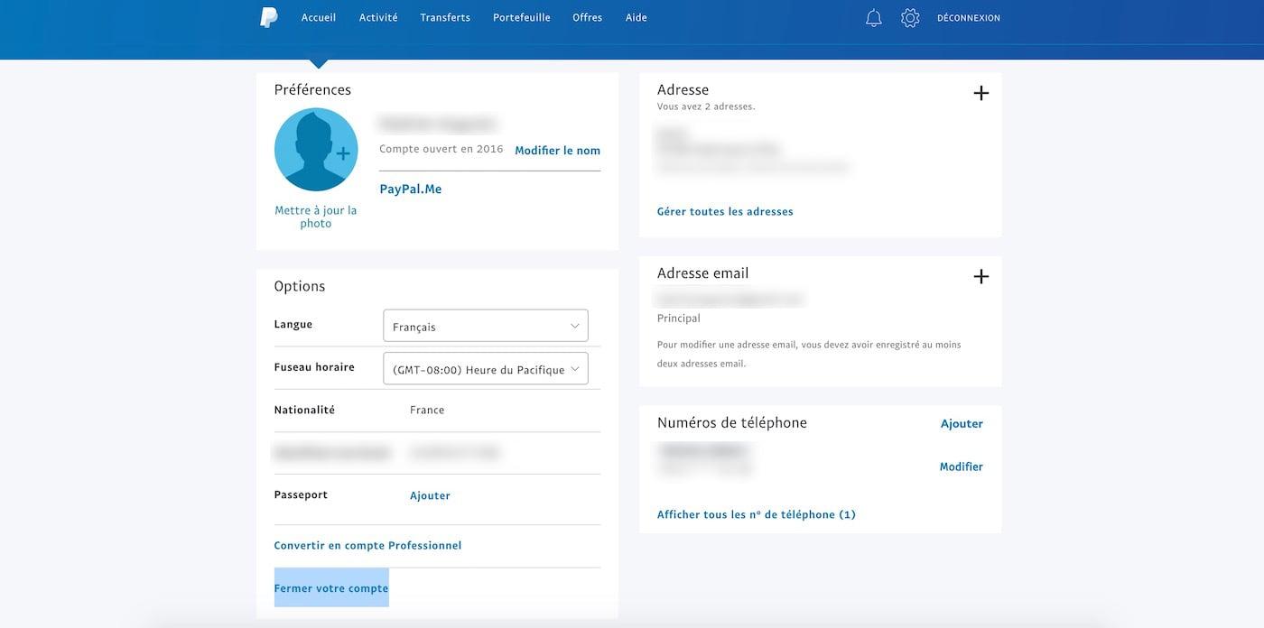 Fermer le compte PayPal