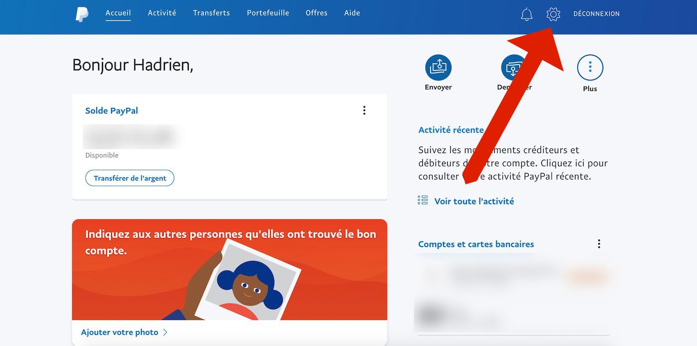 Supprimer le compte PayPal