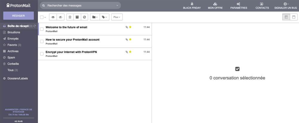 Interface ProtonMail