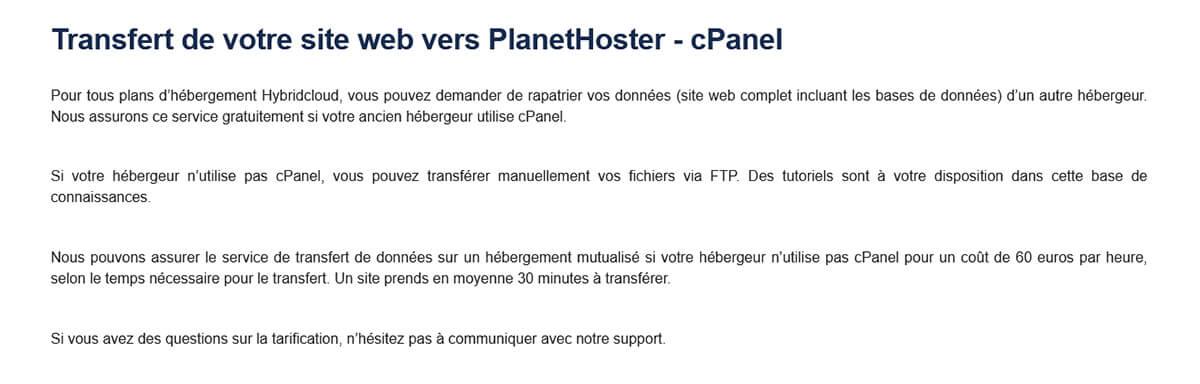 Transfert site PlanetHoster