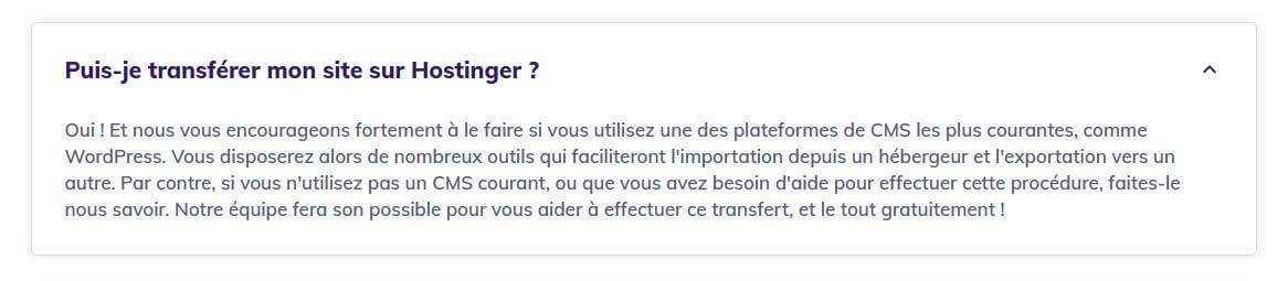 Transfert site gratuit Hostinger