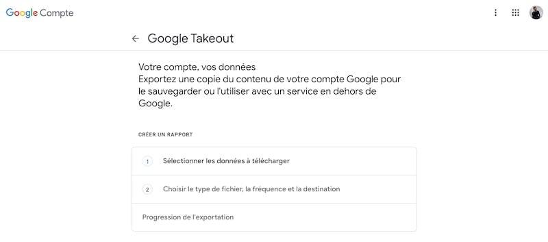 Export Google Photos etape 1