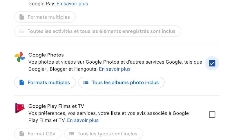 Export Google Photos etape 2