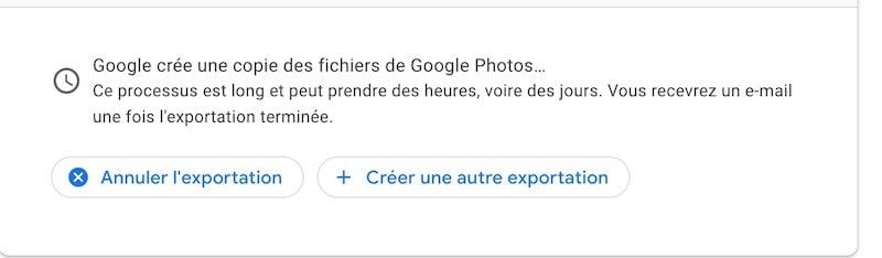 Export Google Photos etape 5