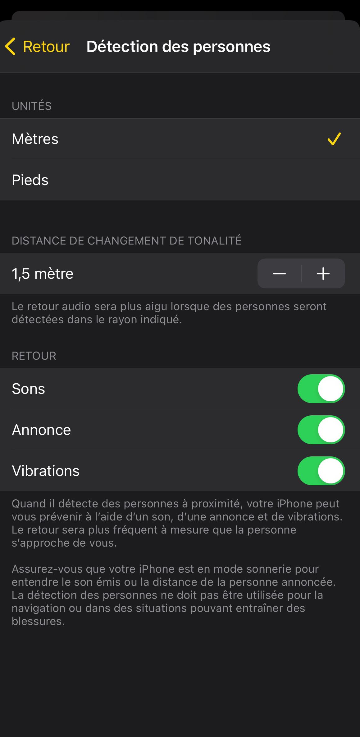 iPhone 12 Pro « Détection des personnes »