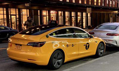 Tesla yellow cab NYC