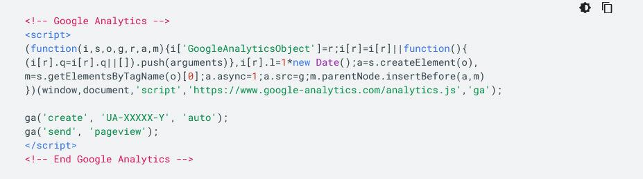 Code tracking Google Analytics