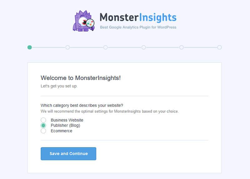 Début configuration plugin MonsterInsights