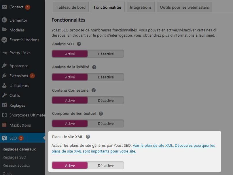 Génération sitemaps Yoast SEO WordPress