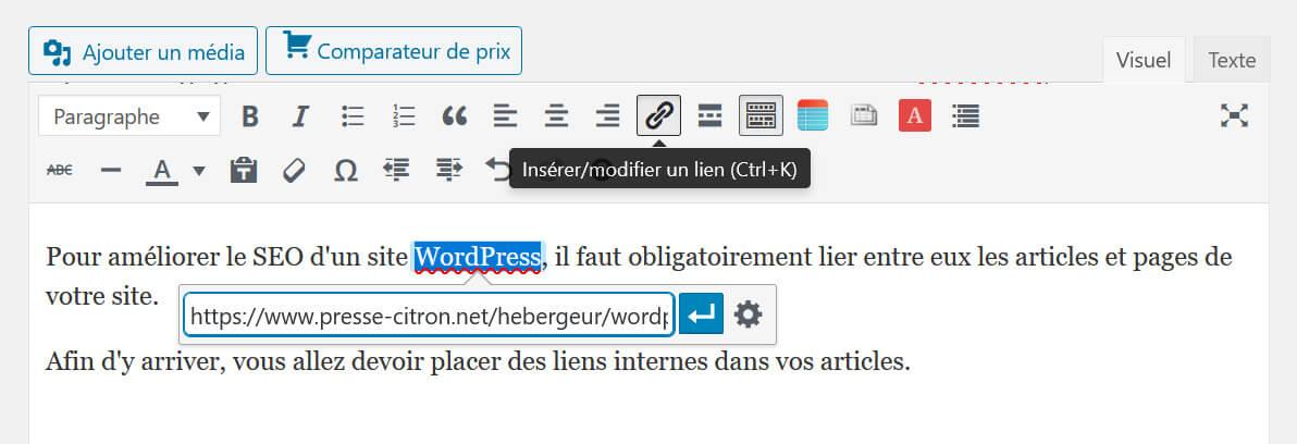 Insertion lien interne WordPress