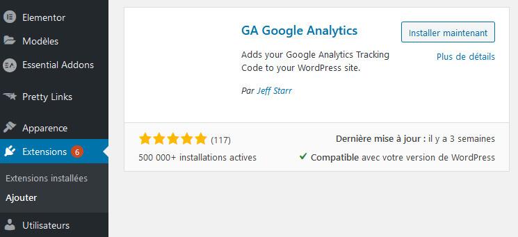 Installation plugin GA Google Analytics