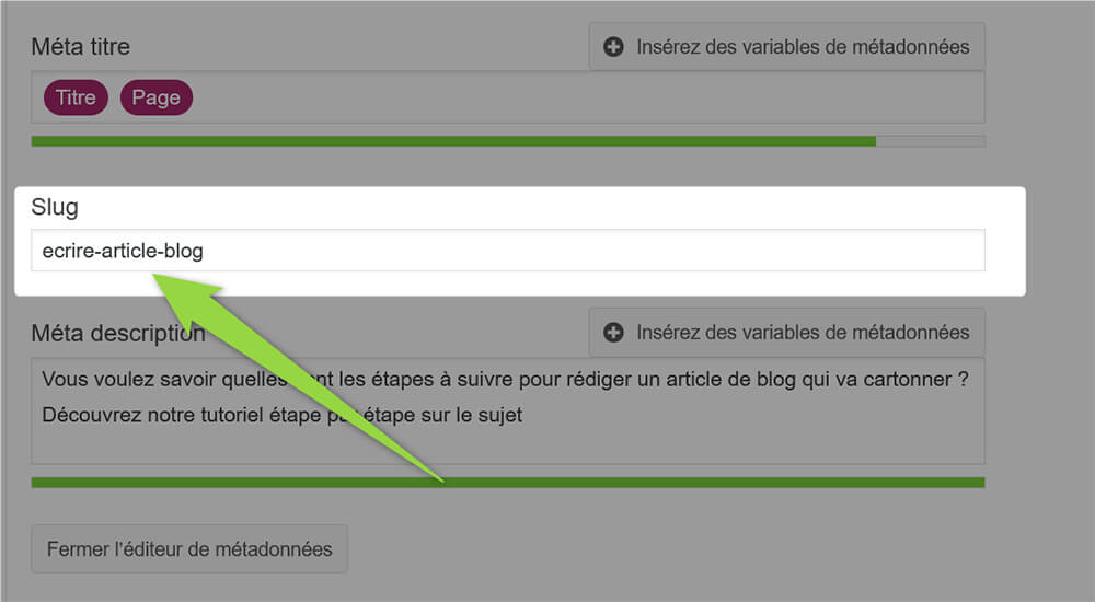Personnalisation URL article blog