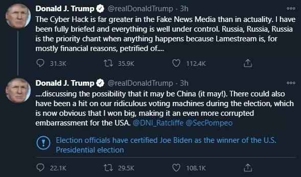 Sous tous les tweets de Donald Trump, Twitter mentionne désormais que Joe Biden a gagné