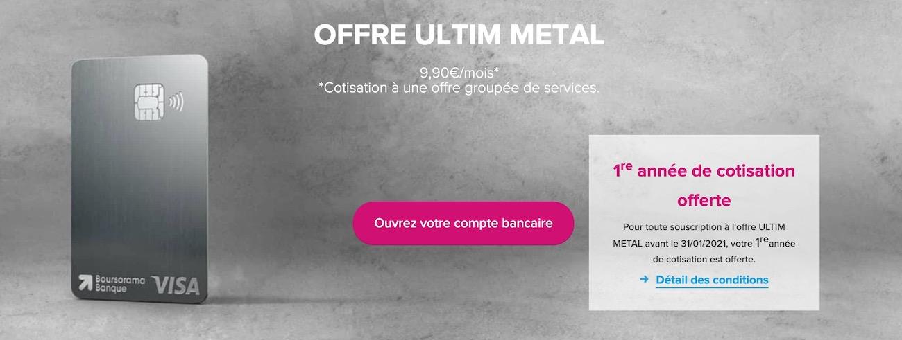 Offre carte métal Boursorama Ultim