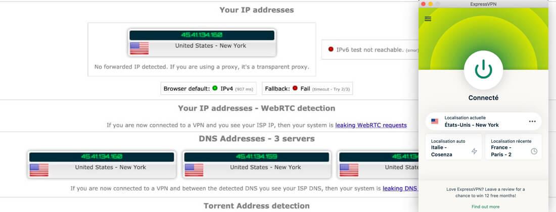 ExpressVPN test fuites IP