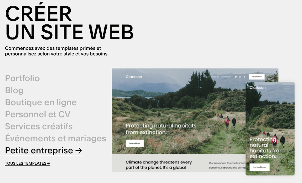 Squarespace-creer site