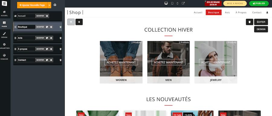 Edition e-boutique Site123
