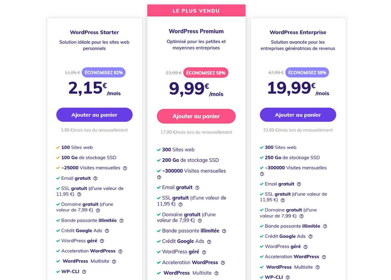 Hébergements WordPress Hostinger