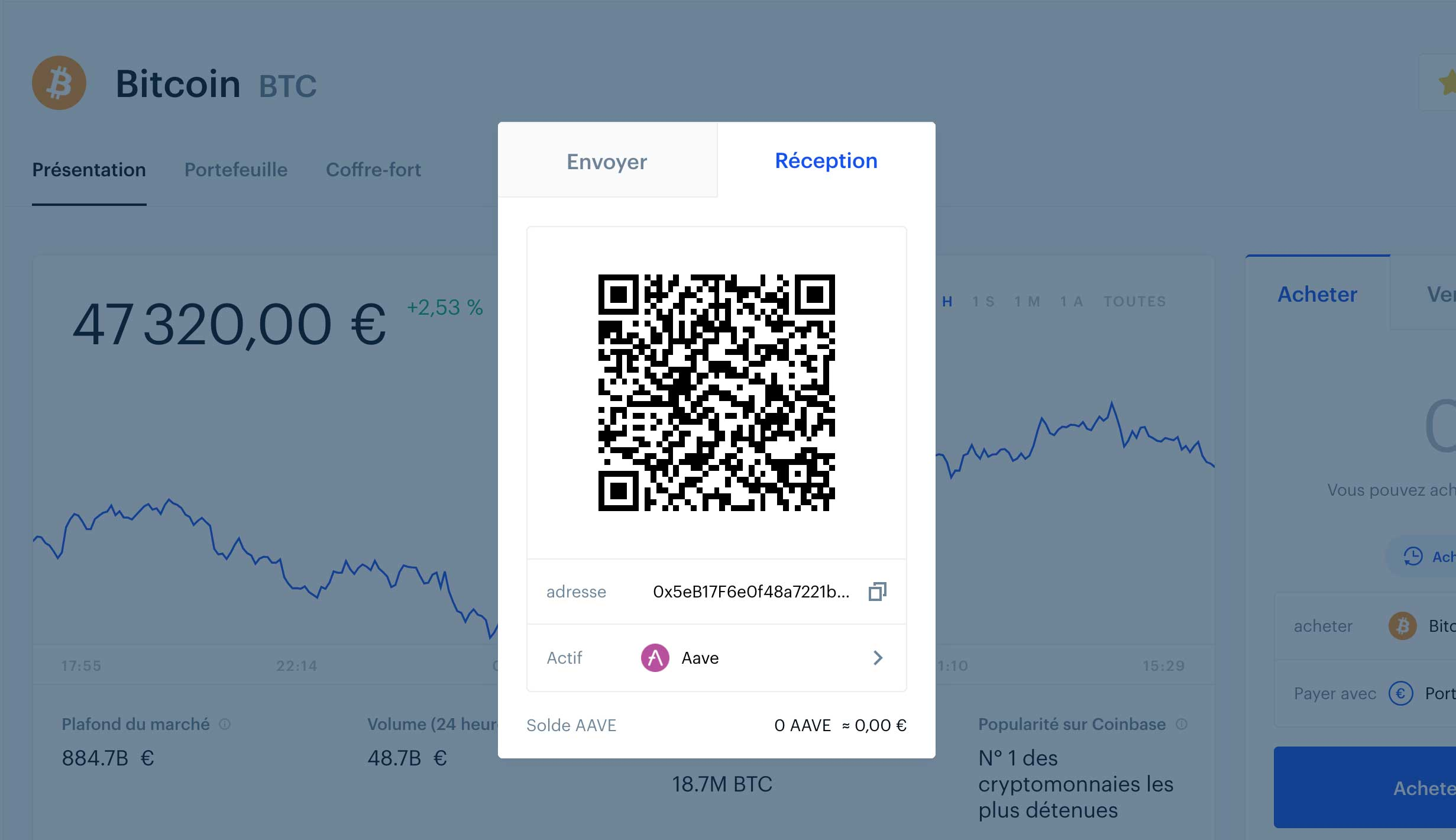 Adresse Aave sur Coinbase