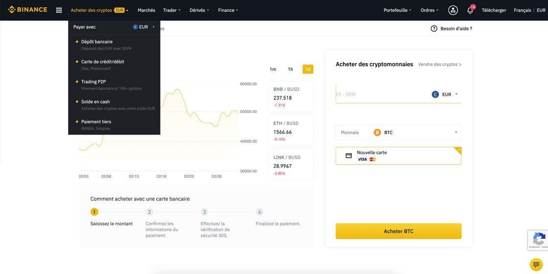 Acheter du Bitcoin par carte sur Binance