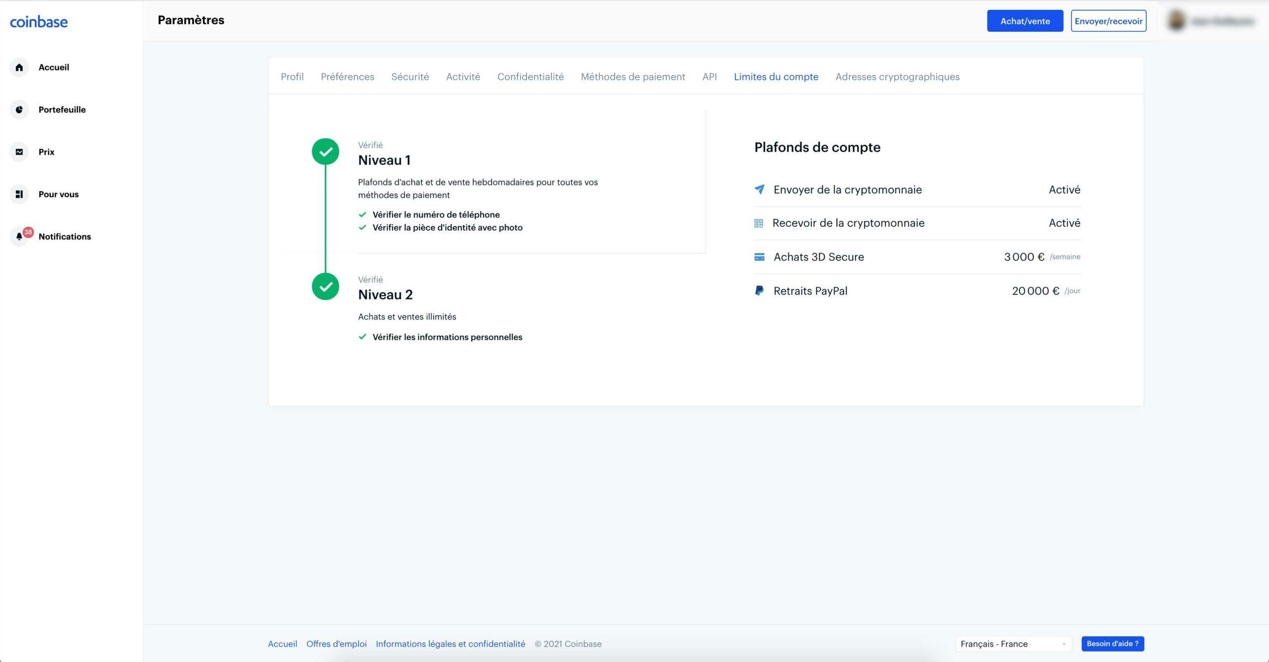Vérification d'identité Coinbase