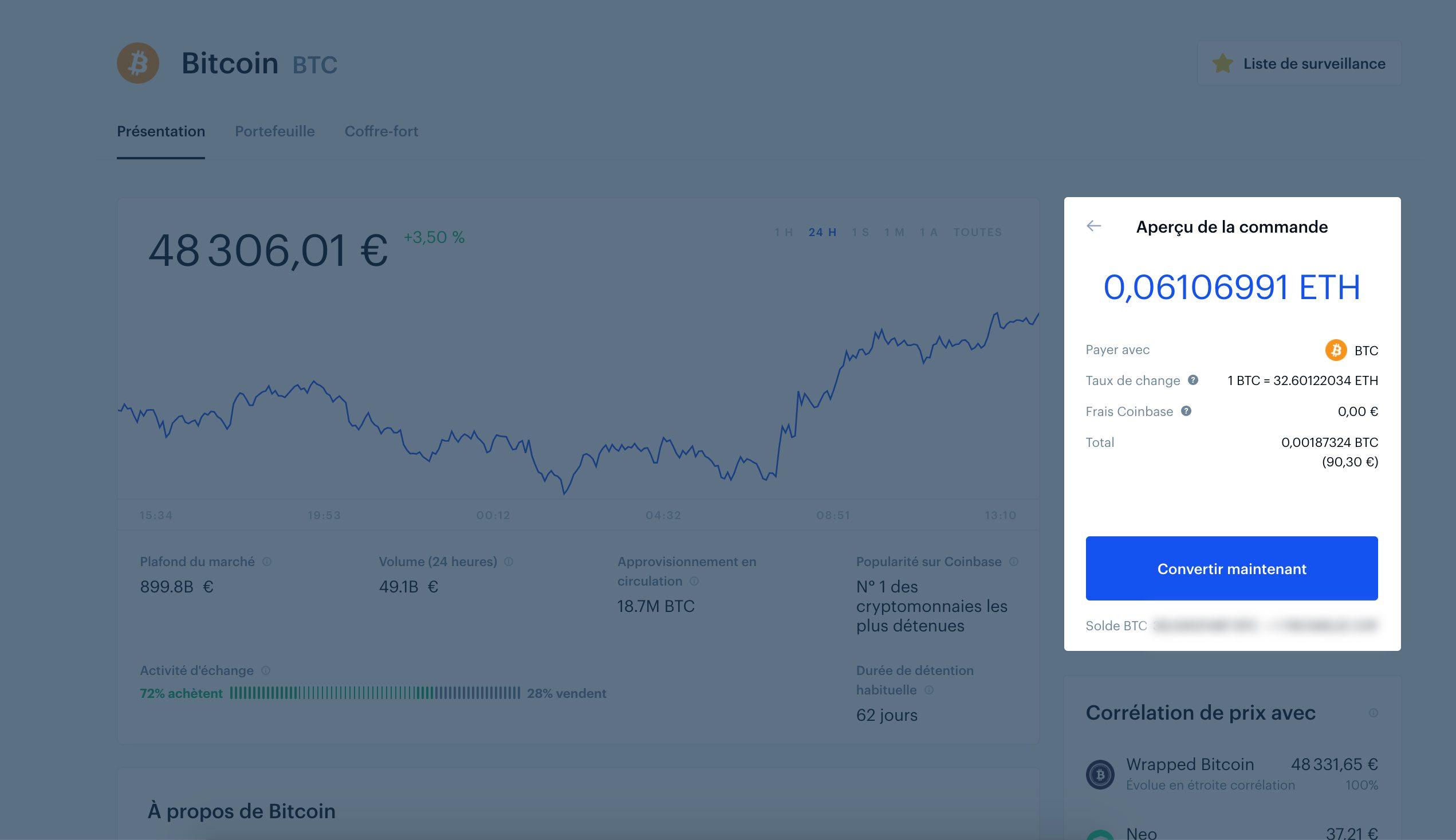 Convertir du Bitcoin Coinbase