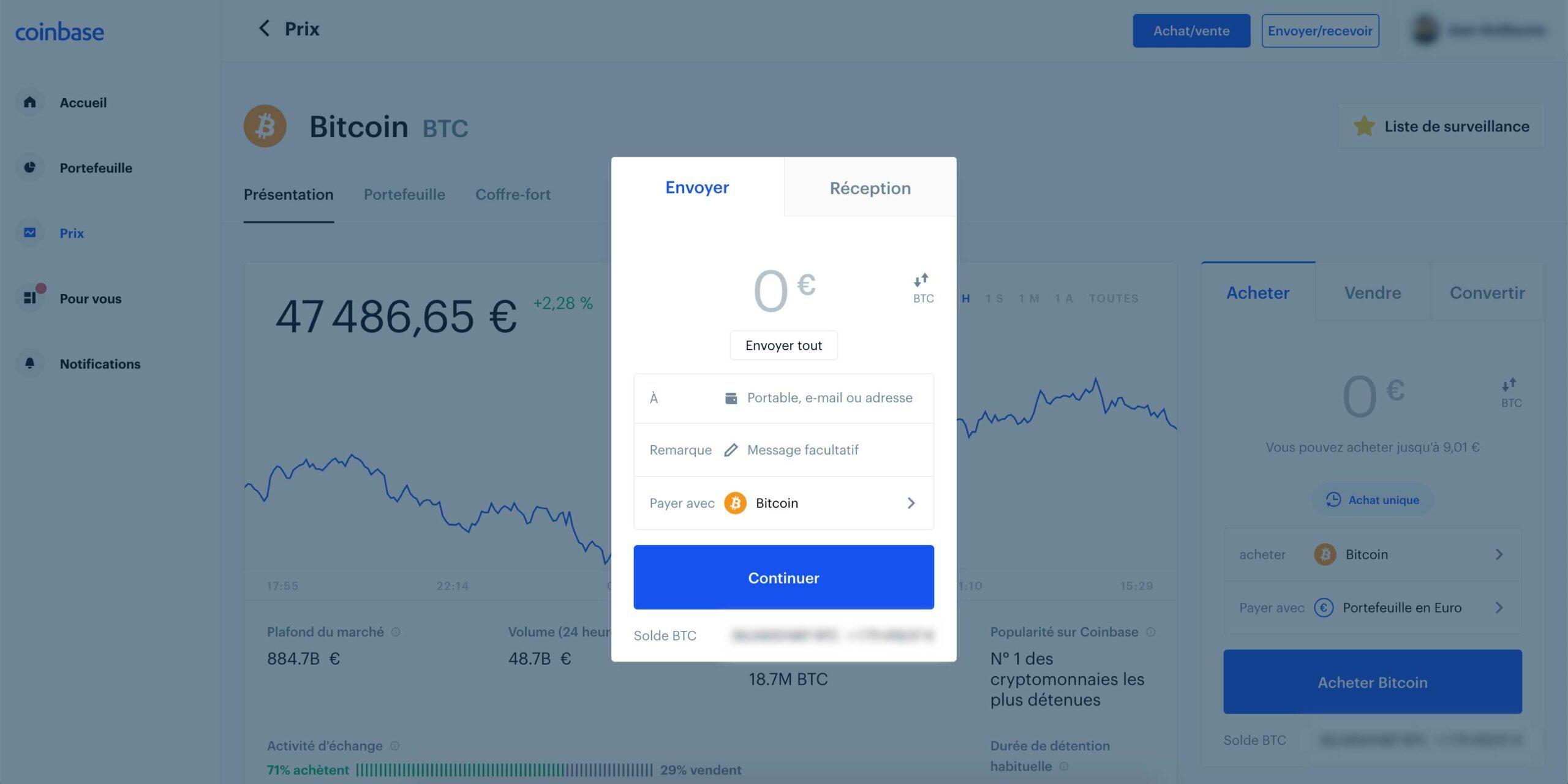 Envoyer des Bitcoins de Coinbase