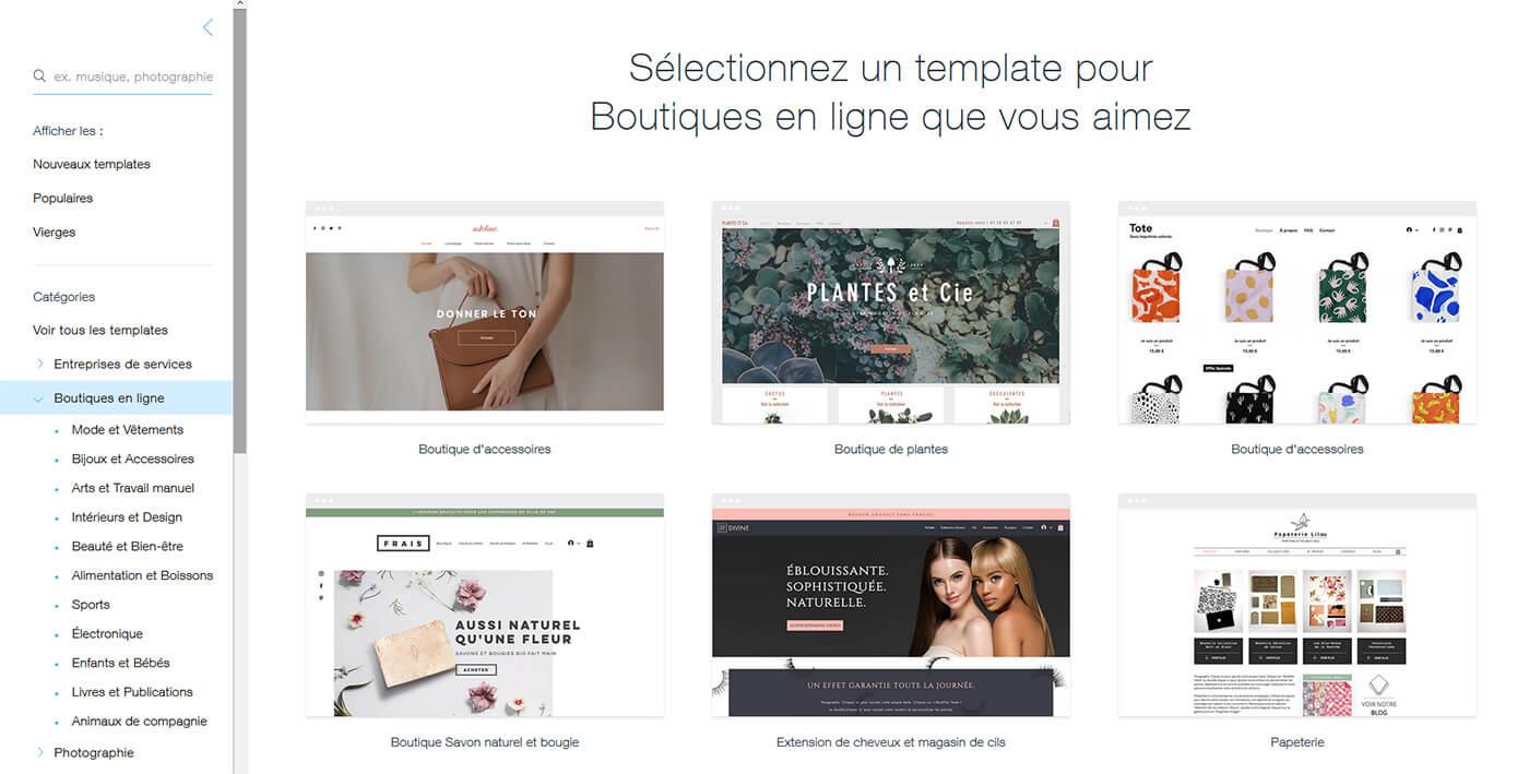 Choix template boutique en ligne Wix