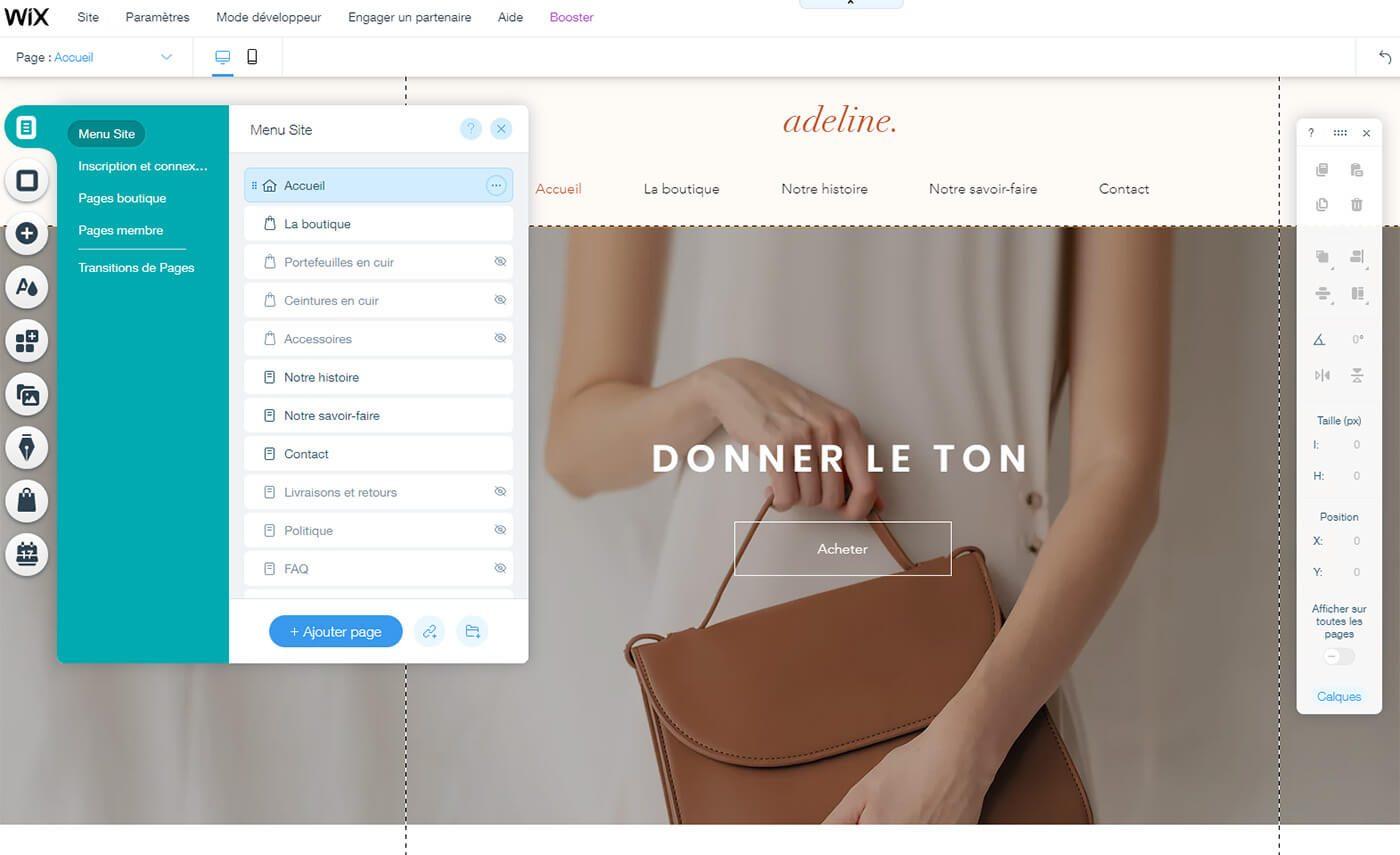 Edition boutique E-Commerce Wix