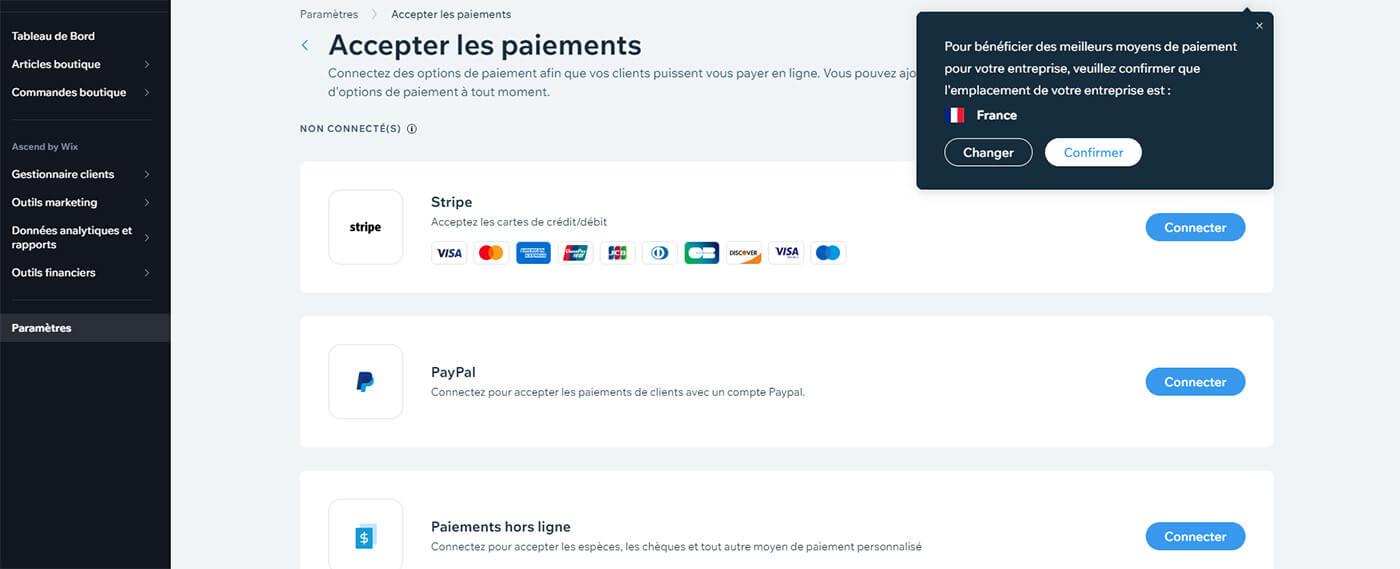 Gestion méthodes paiement E-Commerce Wix