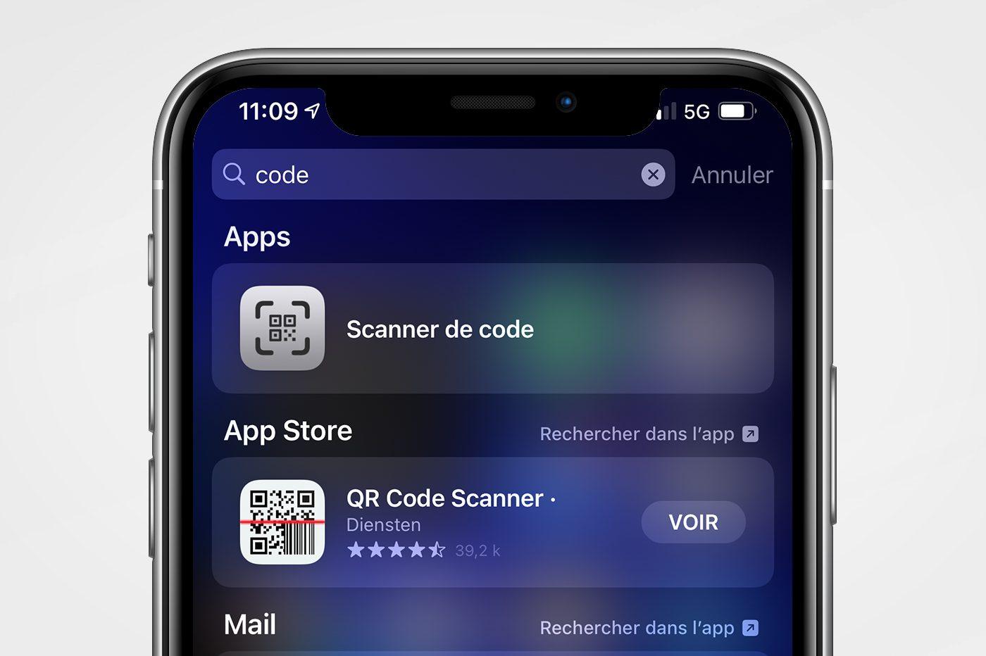 Apple iOS iPhone Scanner de Code
