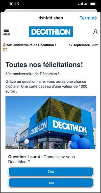 Capture d'écran d'une arnaque Decathlon sur Facebook
