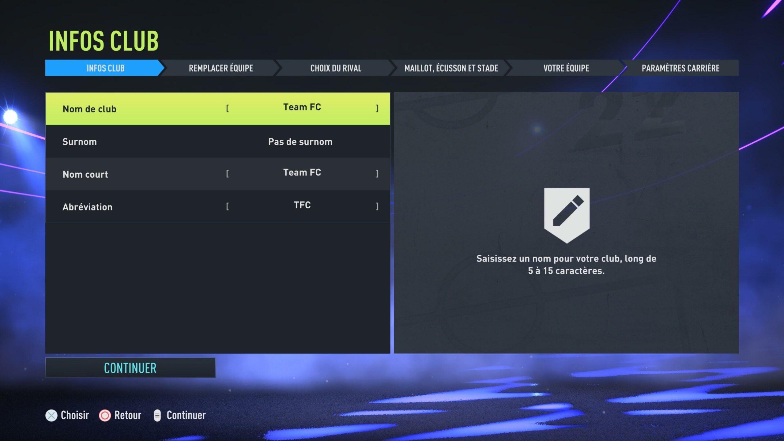 FIFA 22 Création Club