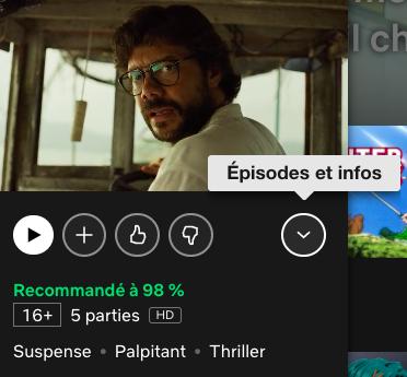 """Section """"Episodes et infos"""" sur Netflix"""